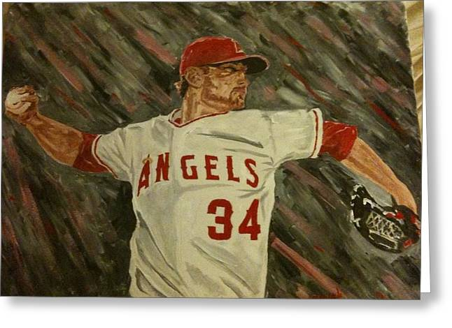 Baseball Stadiums Greeting Cards - Angels 34 First Pitch Greeting Card by Daryl Williams Jr