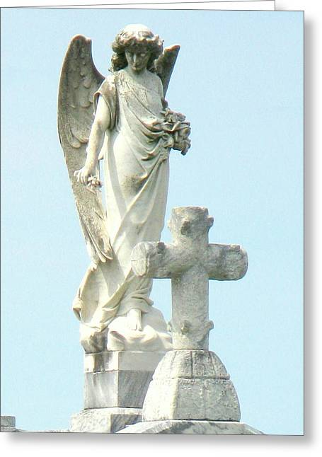 Religious Sculptures Greeting Cards - Angels Are Watching Greeting Card by Jackie Jackson