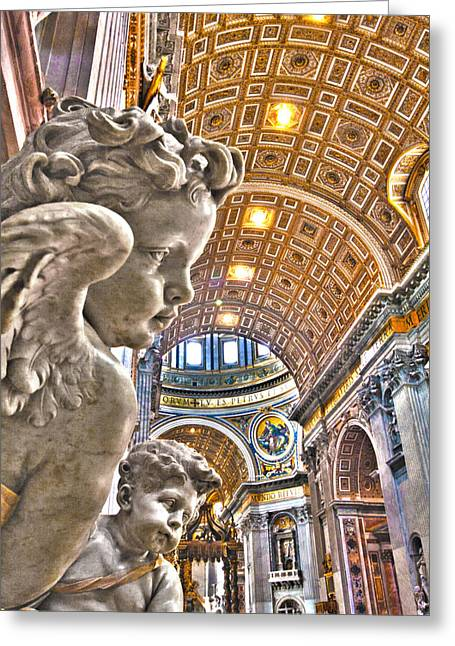 Baldacchino Greeting Cards - Angels at the Vatican Greeting Card by Michael Yeager