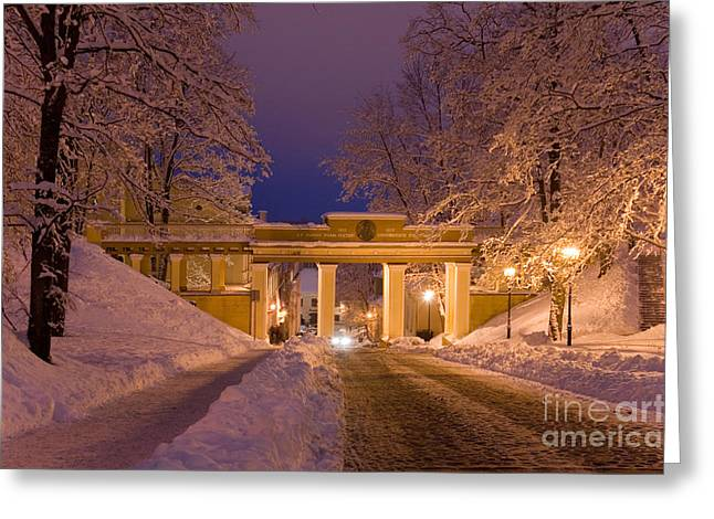 Snow Drifts Greeting Cards - Angels Bridge in Winter Greeting Card by Jaak Nilson