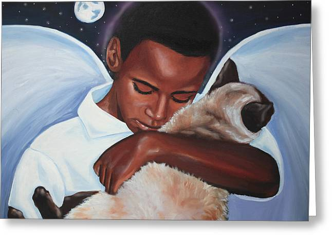 African Angel Greeting Cards - Angels Heart Greeting Card by Cynthia Bluford