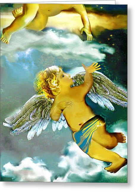 Religious Mixed Media Greeting Cards - Angels in heaven Greeting Card by Anne Weirich