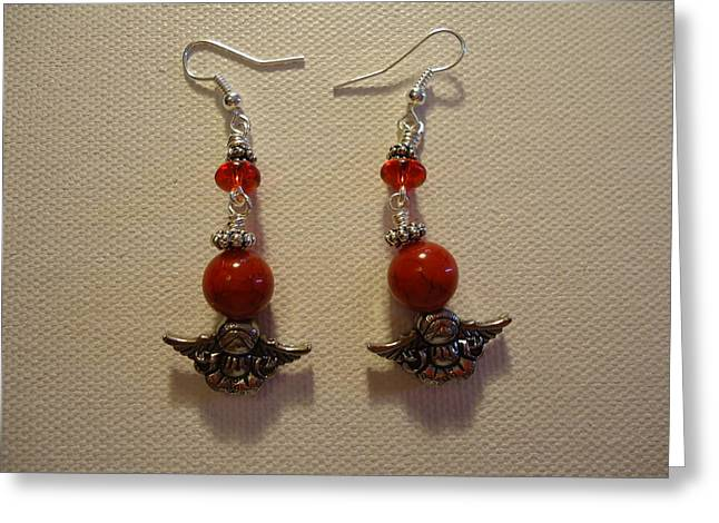 Greenworldalaska Jewelry Greeting Cards - Angels in Red Earrings Greeting Card by Jenna Green