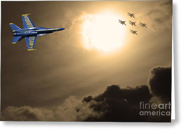 Fleet Week Greeting Cards - Angels In The Sky . Partial Sepia Greeting Card by Wingsdomain Art and Photography