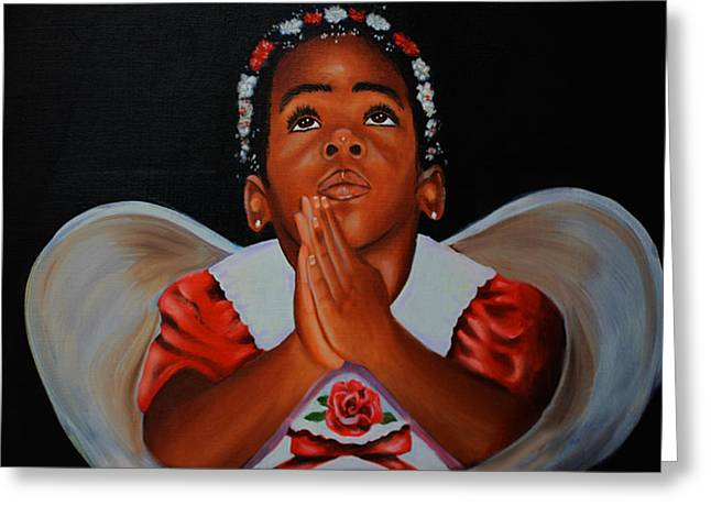 African Angel Greeting Cards - Angels Prayer Greeting Card by Cynthia Bluford