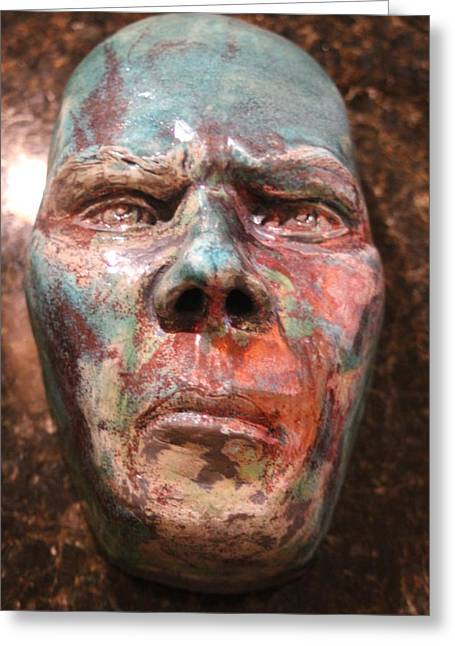 Face Ceramics Greeting Cards - Anger Greeting Card by Donovan  Hettich