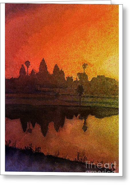 Wat Angkor Greeting Cards - Angkor sunrise Greeting Card by Ryan Fox