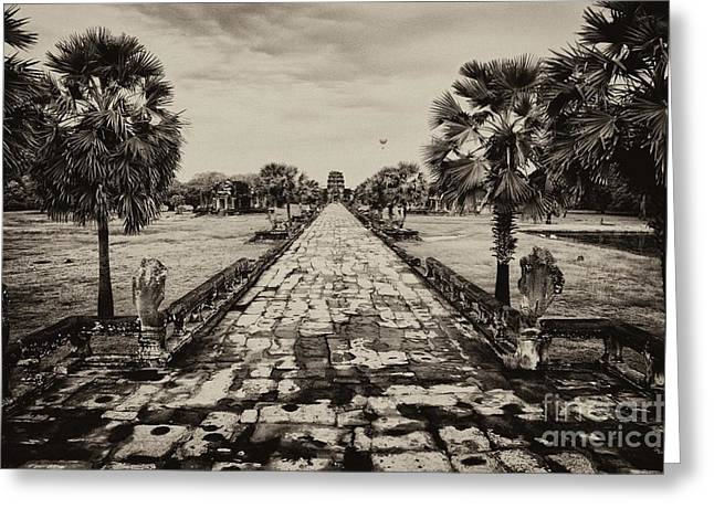 Wat Angkor Greeting Cards - Angkor Wat Causeway Greeting Card by Kate McKenna
