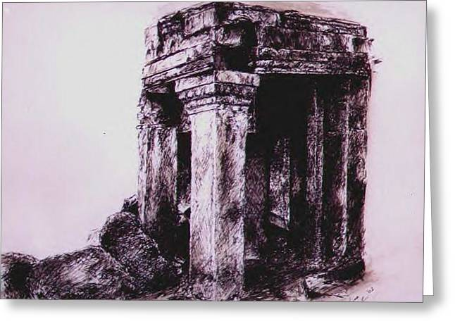 Ancient Ruins Drawings Greeting Cards - Angkor Wat Greeting Card by Melissa Fiorentino