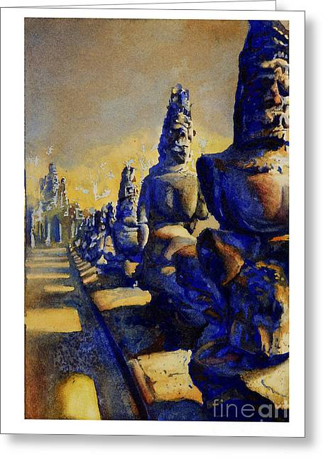 Wat Angkor Greeting Cards - Angkor Wat ruins Greeting Card by Ryan Fox
