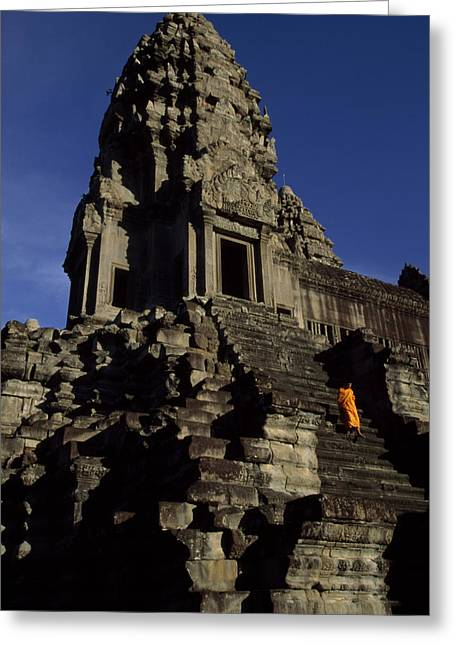 Wat Angkor Greeting Cards - Angkor Wat Temple Complex With Ornate Greeting Card by Paul Chesley