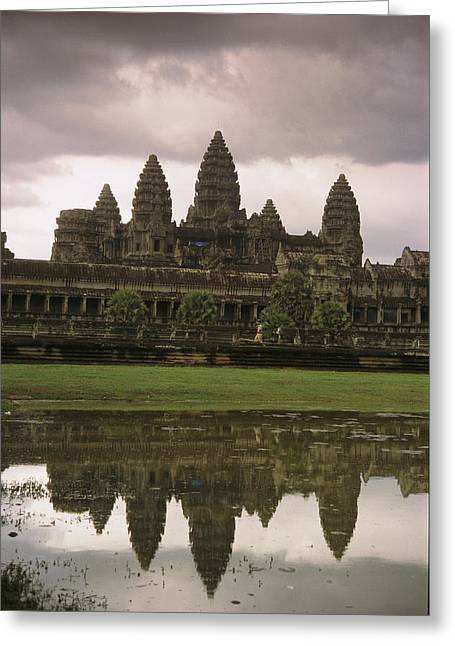 Art Of Building Greeting Cards - Angkor Wat Temple Reflected Greeting Card by Richard Nowitz