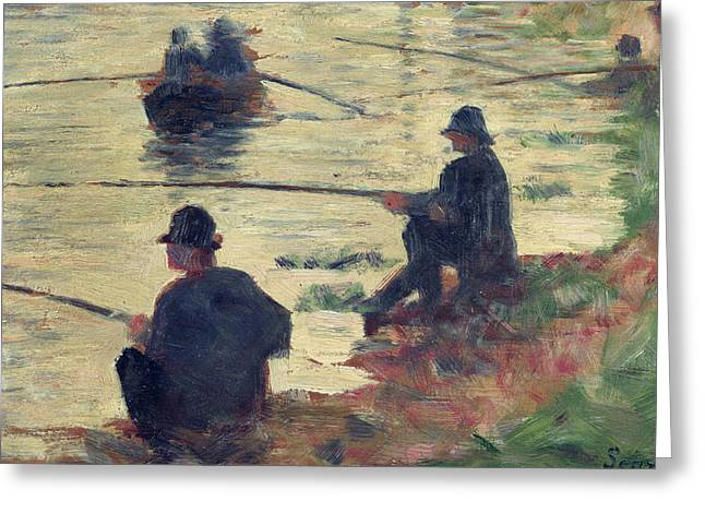 Seurat Paintings Greeting Cards - Anglers Greeting Card by Georges Pierre Seurat
