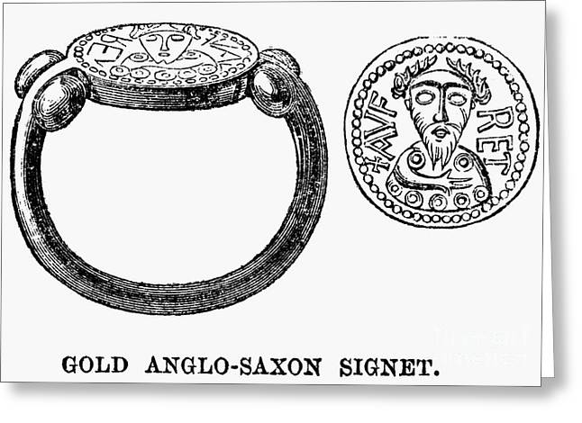 Ancient Jewelry Photographs Greeting Cards - Anglo-saxons: Signet Ring Greeting Card by Granger