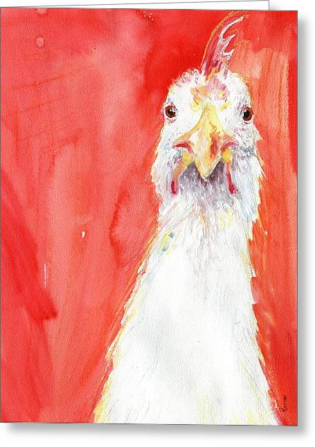 Barn Yard Greeting Cards - Angry Chicken 1 Greeting Card by Rachel Dutton