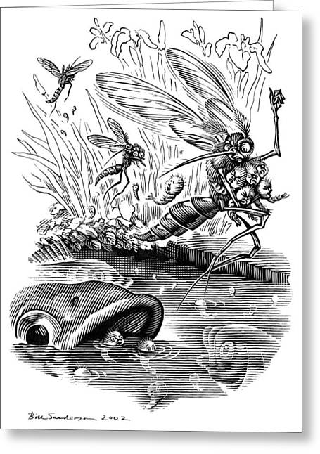Linocut Greeting Cards - Angry Mosquitoes, Conceptual Artwork Greeting Card by Bill Sanderson
