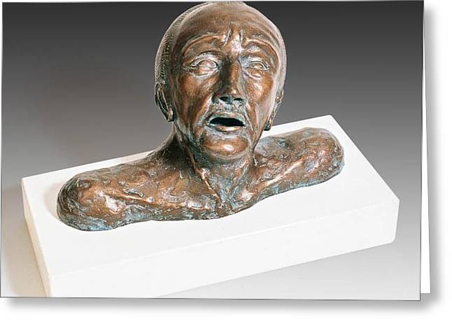 Sculpture. Ceramics Greeting Cards - Anguished Man with Broken Nose Greeting Card by Dan Woodard