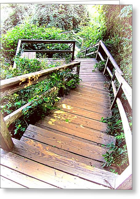 Wooden Stairs Greeting Cards - Angular Wooden Stairs Greeting Card by Mark Sellers