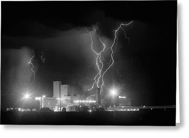 The Lightning Man Greeting Cards - Anheuser-Busch On Strikes Black and White Greeting Card by James BO  Insogna