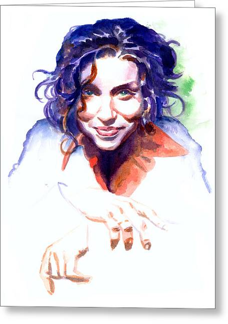 Singer Paintings Greeting Cards - Ani DiFranco Greeting Card by Ken Meyer jr