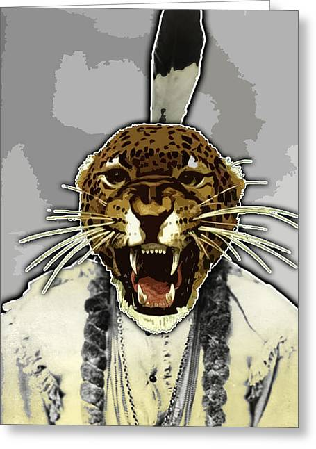 Travis Burns Greeting Cards - Animal Family 8 Chief Cheeta Greeting Card by Travis Burns