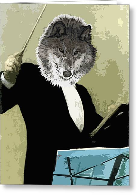 Travis Burns Greeting Cards - Animal Family 8 Wolf Composer Greeting Card by Travis Burns