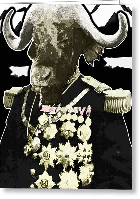 Travis Burns Greeting Cards - Animal Family 9 General Buffalo Greeting Card by Travis Burns
