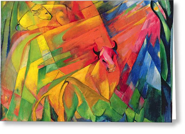 Animals in a Landscape Greeting Card by Franz Marc