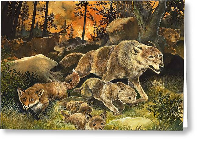 Fleeing Greeting Cards - Animals United in Terror as They Flee from a Forest Fire Greeting Card by G W Backhouse