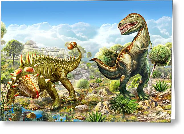 Courage Greeting Cards - Anklosaurus and Tyranosaur Greeting Card by Adrian Chesterman