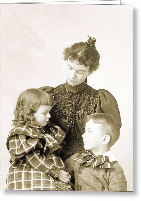Puffed Sleeves Greeting Cards - Anna and Ray with Sitter Greeting Card by Jan Faul