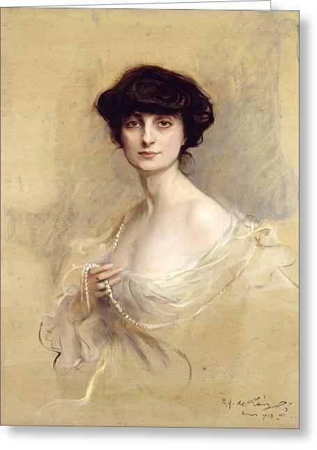 1876 Greeting Cards - Anna de Noailles Greeting Card by Philip Alexius de Laszlo