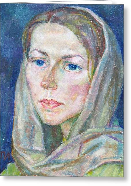 Pastel Shawl Greeting Cards - Anna Grachev Greeting Card by Leonid Petrushin