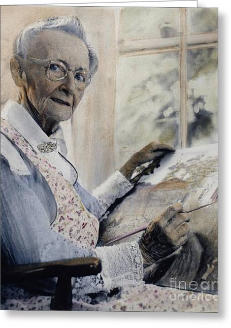 1950s Portraits Greeting Cards - Anna Mary Robertson Greeting Card by Granger