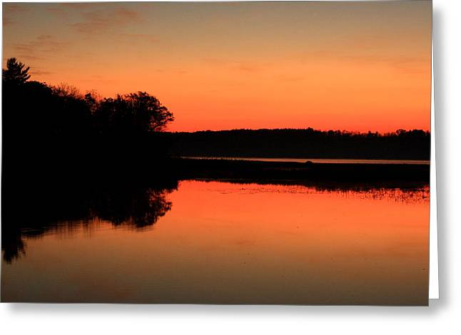 Maine Landscape Greeting Cards - Annabessacook Sunrise Greeting Card by Laurie Breton
