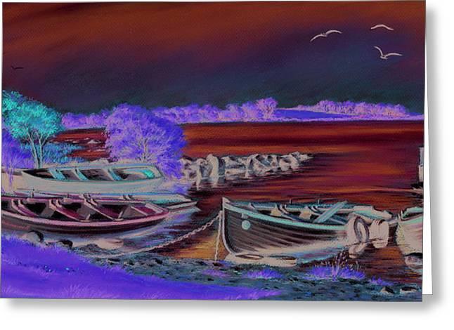AnnadownPier on Lough Corrib Greeting Card by Vanda Luddy