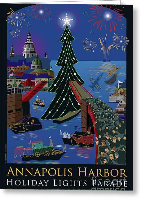 Annapolis Greeting Cards - Annapolis Holiday Lights Parade Greeting Card by Joe Barsin