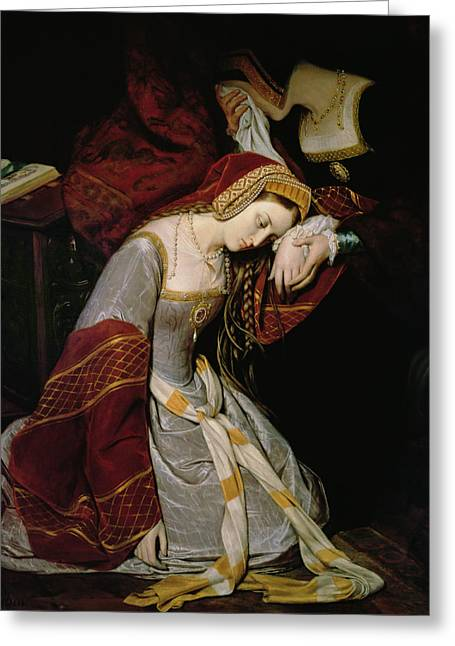 Kneel Greeting Cards - Anne Boleyn in the Tower Greeting Card by Edouard Cibot