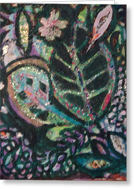 Anne Imagines Abstract Leaves Greeting Card by Anne-Elizabeth Whiteway