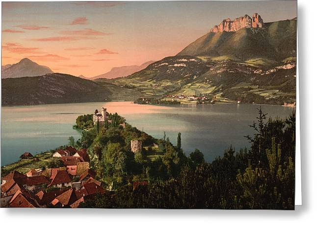Chateau Greeting Cards - Annecy France - Chateau de Duingt Greeting Card by International  Images