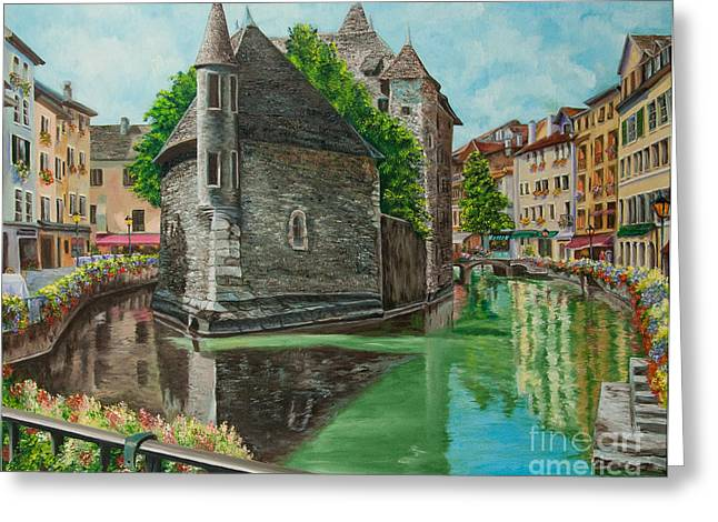 Village In France Greeting Cards - Annecy-The Venice Of France Greeting Card by Charlotte Blanchard