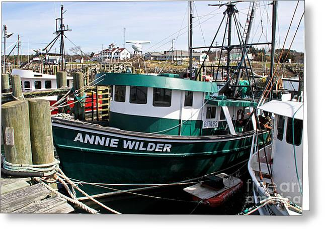 Boats In Water Greeting Cards - Annie Wilder Greeting Card by Extrospection Art