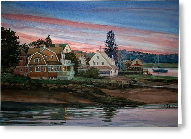 Lobster Shack Paintings Greeting Cards - Annisquam River Greeting Card by Peter Sit