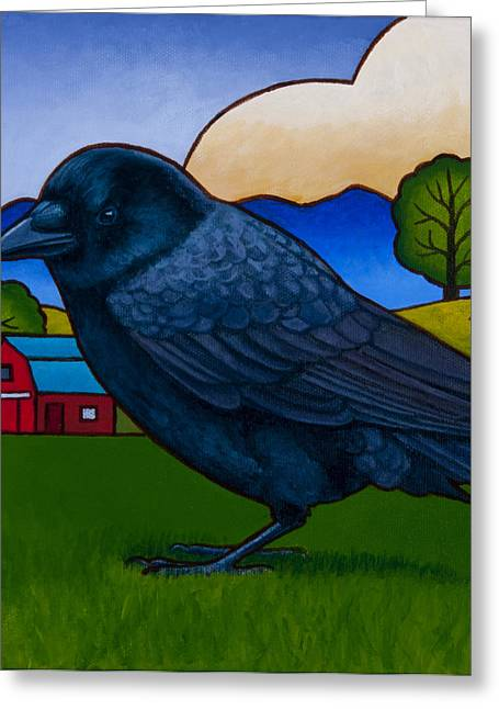 Crows Paintings Greeting Cards - Anns Crow Greeting Card by Stacey Neumiller