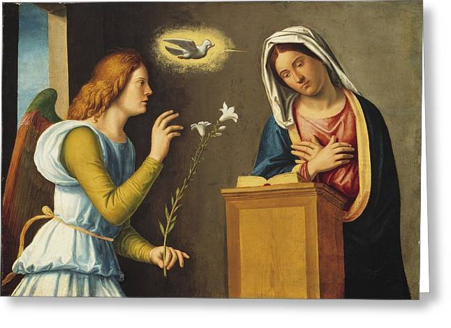 Virgin Mary Photographs Greeting Cards - Annunciation to the Virgin Greeting Card by Giovanni Battista Cima da Conegliano