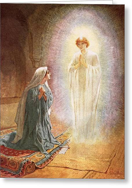 Kneel Greeting Cards - Annunciation Greeting Card by William Brassey Hole