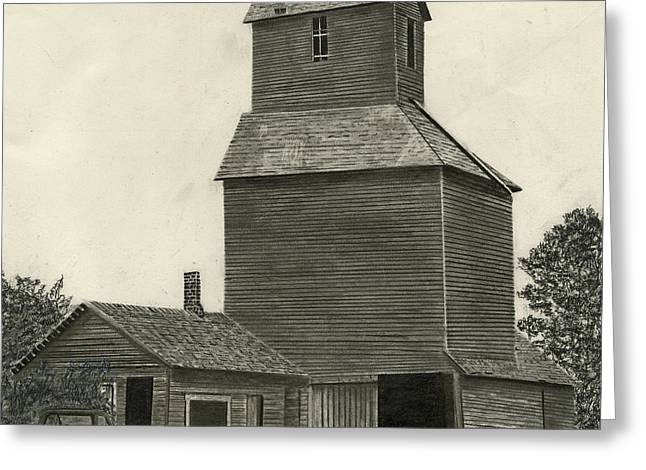 Old Barns Drawings Greeting Cards - Anoka Elevator Greeting Card by Bryan Baumeister
