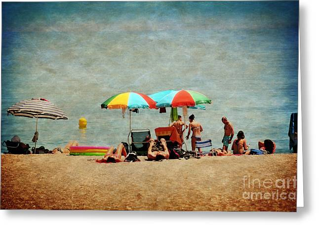 Swimmers Digital Greeting Cards - Another Day at the Beach Greeting Card by Mary Machare