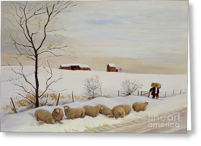 Feeding Greeting Cards - Another Hard Winter Greeting Card by Margaret Loxton