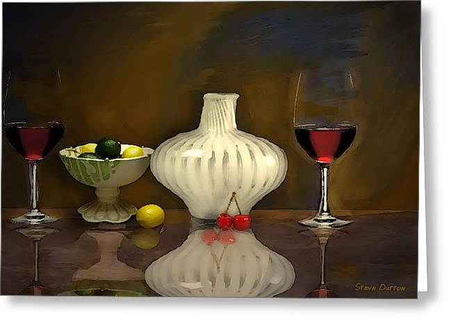 Glass Table Reflection Mixed Media Greeting Cards - Another still life Greeting Card by Stevn Dutton
